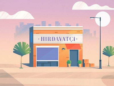 Hardware store brush building market shop art design vector character illustration