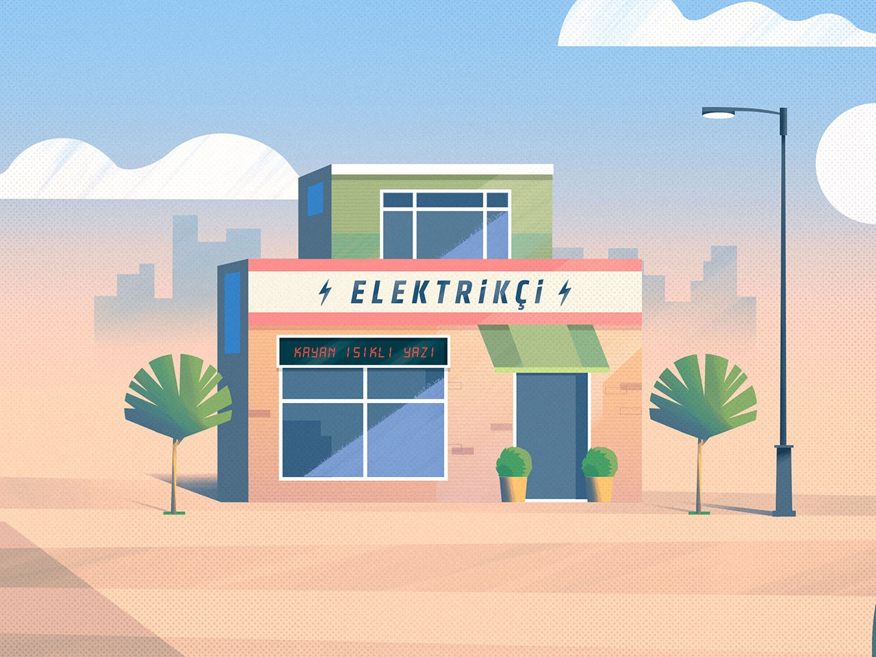 Electrician graphic dribbble drawing concept design character building shop brush art color illustration vector