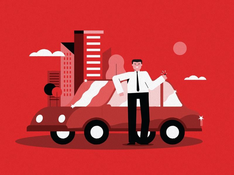 New car! shine city new car red brush line man design art color illustration character vector
