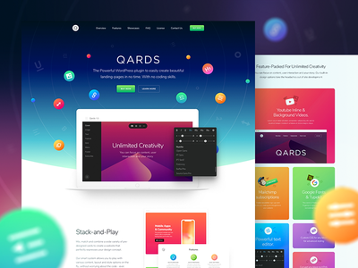Design Page of Qards update wordpress ux ui tool qards presentation landing framework design css3
