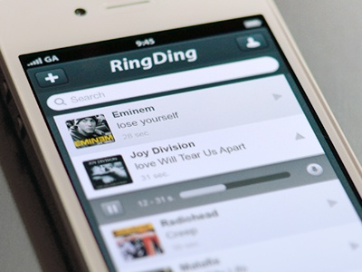 Ringtones app app interface ui rington iphone ios