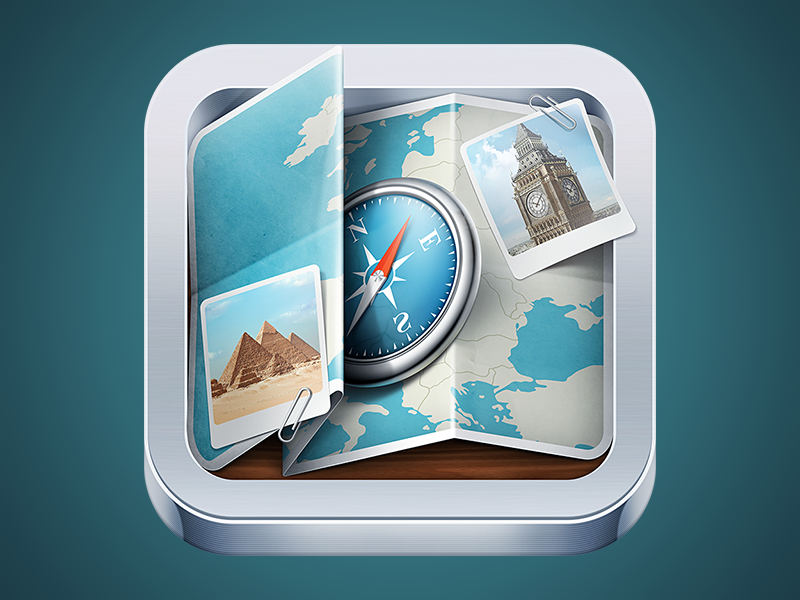 Guide icon icon guide ios map photo travel iphone compass