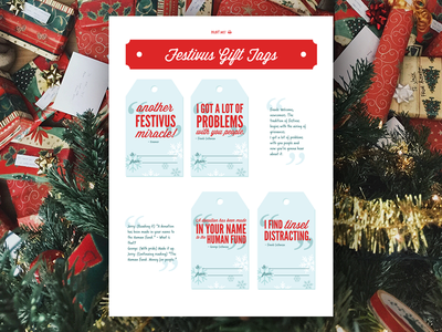 Festivus Gift Tags christmas presents giftwrap tags gifts holiday festivus
