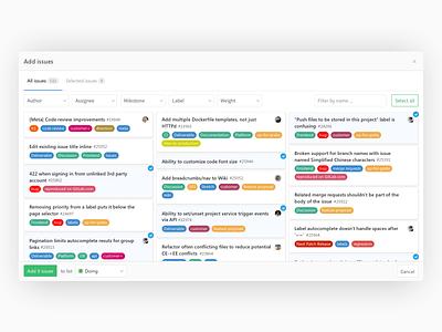 GitLab Issue Boards - Add Existing Issues ux gitlab git design