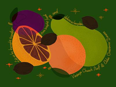 Staff Christmas Dinner apple grapefruit pear plum pecan fruit invitation church