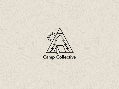 Camp Collective branding lettering scene nature camping tent icon logo type typography illustration mountains campfire camp