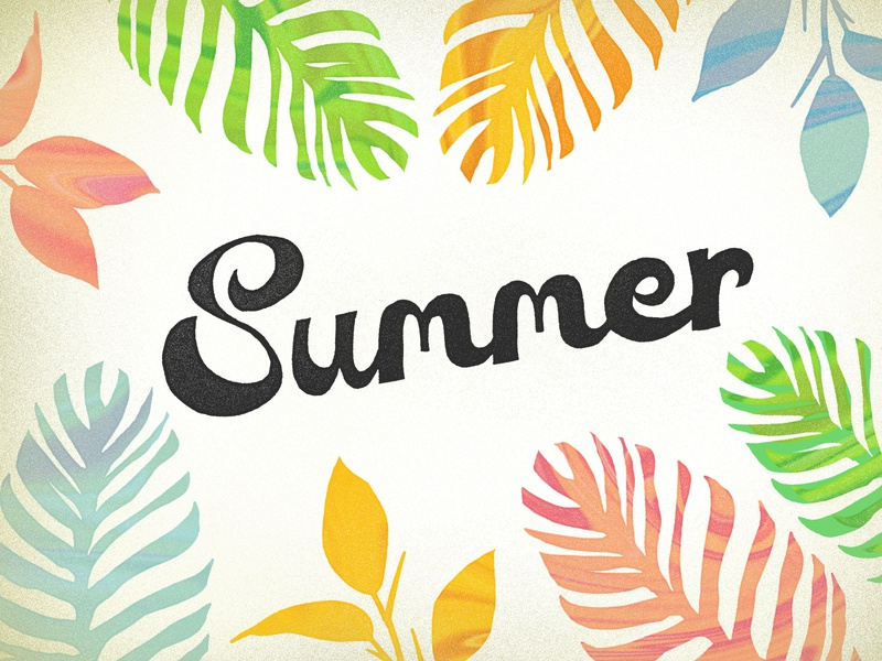 Summer colorful vibrant rustic drawing typography fontdesign handmadefont summertype handtype handmade handletters handlettering handdrawn type leaves summer