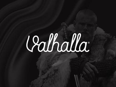 Valhalla logotype wordmark brand branding lettering handlettering typography type font script font cursive script lettering script viking logo viking valhalla