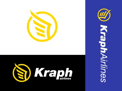 Kraph Logo Family symbol wander explore travel professional gold blue wings flight corporate typography type branding brand logo pegasus fly flying airlines airplane