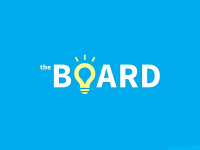 theBoard iconography symbol pro board inspiration consultation consulting smart light lightbulb wordmark logotype corporate professional clever type typography branding brand logo