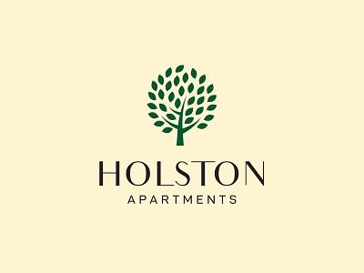 Holston usa america inspiration nature plant living pro logotype corporate professional realty apartment tree illustration type typography branding brand logo holston