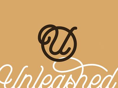 Unleashed Symbol emblem monogram handwriting font script dogwalking professional dogs pets symbol icon handlettering lettering illustration logotype typography type branding brand logo