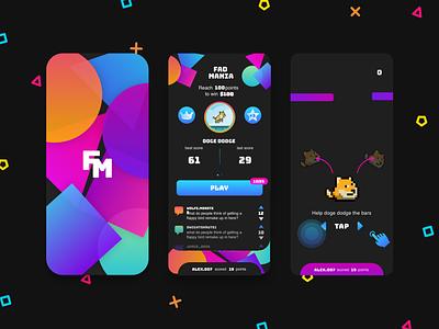 Fad Mania App neon mobile application mobile app design mobile design mobile games game design game art app design gaming ui design mobile game iphone game iphone ios mobile app mobile ui game app