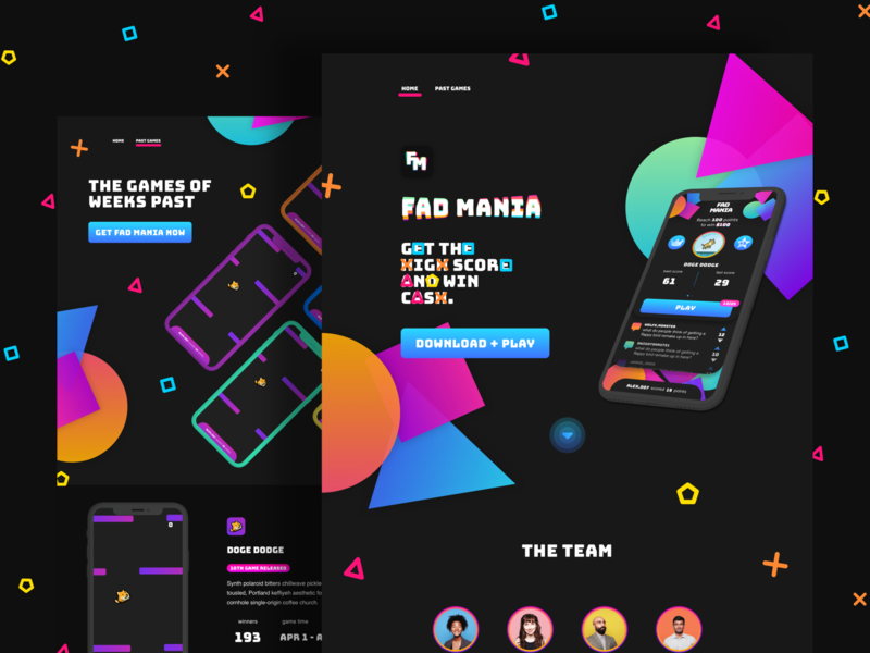 Fad Mania Site game design fad mania minigame quiz gameshow dark dark mode aesthetic neon shapes web game website games game website game ui game web design web ui