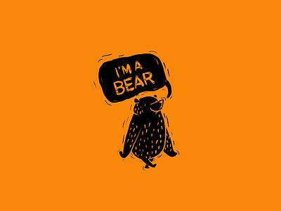 I'm a Bear fluffy black orange honey creature storybook story forrest animal walking procreate vector logo creature design bear design cute character design illustration character