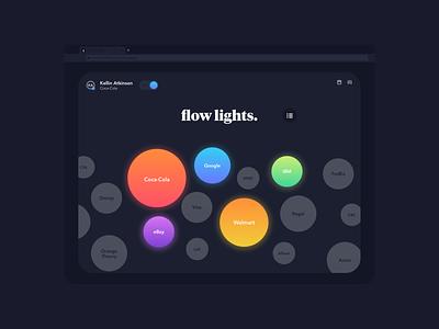 Flow Lights home home app home screen clients agency aesthetic website heads down flow state neon dark ui dark mode flow web app icon typography ux branding ui