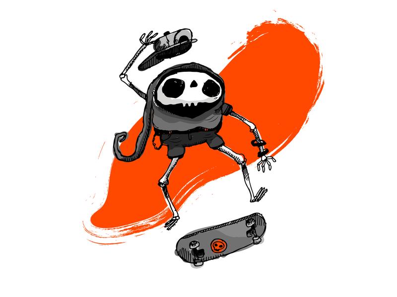Skullboarder Doodle sketch doodle dark punk illustration skateboard skeleton skull character design 2-d character