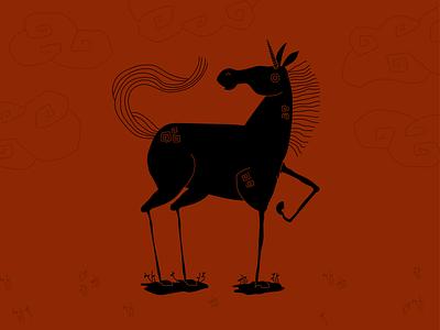 Unicorn linocut horse figuredrawing sketch character character design unicorns art history figure black figure roman greek pottery halloween black magic fantasy unicorn cute illustration