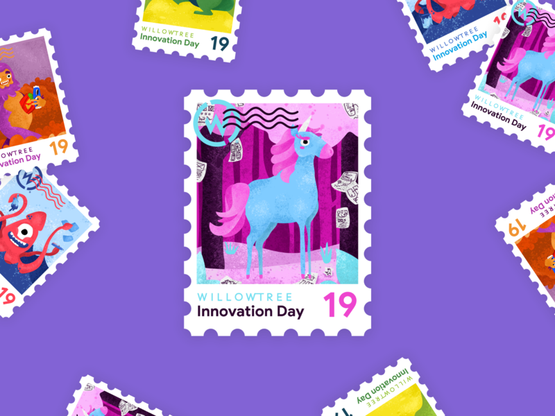 Innovation Day Unicorn postage 2019 unicorns innovate magical stamp sticker innovation day innovation unicorn illustration character
