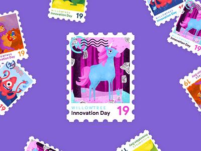 Innovation Day Unicorn postage 2019 unicorns innovate magical stamp sticker innovation day innovation unicorn illustration character