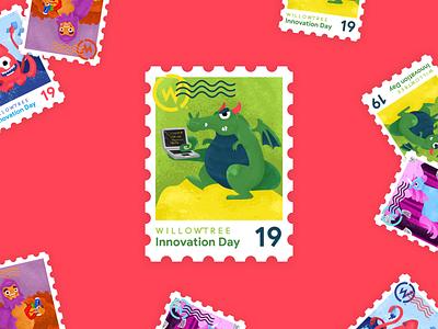 Innovation Day Dragon dragon postage 2019 unicorns innovate magical stamp sticker innovation day innovation illustration character