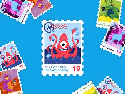 Innovation Day Kraken kraken postage 2019 innovate magical stamp sticker innovation day innovation illustration character