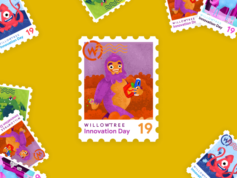 Innovation Day Sasquatch sasquatch bigfoot postage 2019 innovate magical stamp sticker innovation day innovation illustration character