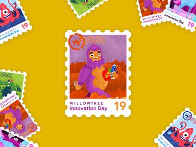 Innovation Day Sasquatch sasquatch bigfoot postage 2019 innovate magical stamp sticker innovation day innovation illustration character