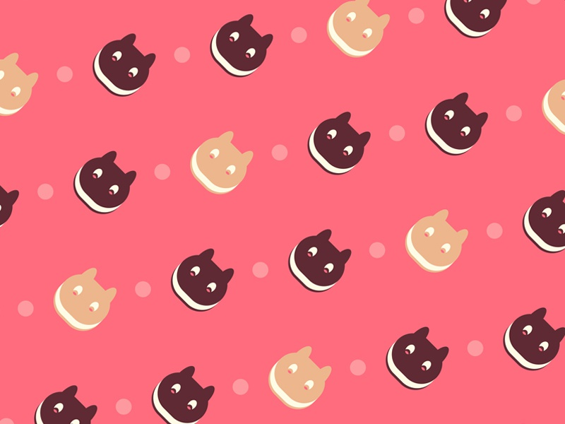 Cookie Cat Pattern Cute Desserts Sweet Minimal Food Icon Outline Universe Steven