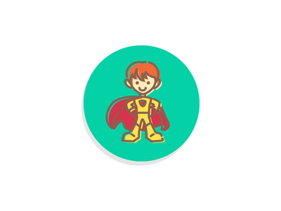 A Sense of Independence redhead ginger cape colorful offset outline character icon kid superhero super