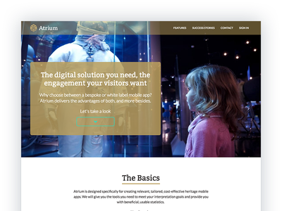 Atrium Landing Page web design engagement cms mobile app saas heritage one page product page home page landing page