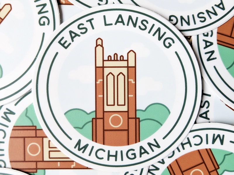 East Lansing, Michigan Sticker beaumont tower michigan state university go green msu spartans michigan state vector architecture design bold illustration