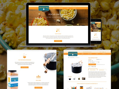 Franklin's Gourmet Products content strategy products illustration packaging iconography custom illustration icons popcorn shopify ecommerce