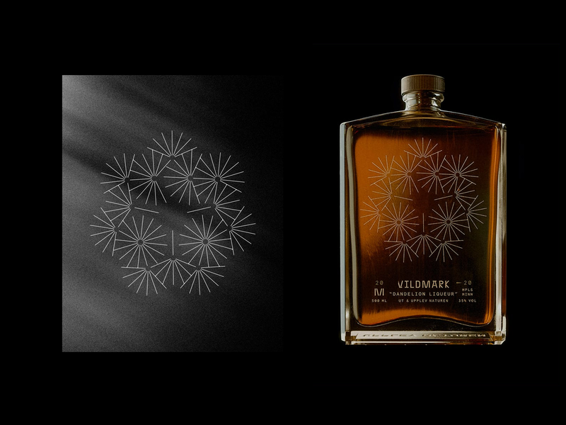 Add'l Vildmark Illustrations branding packaging logotype seven sun dandelion nature illustration monoline whiskey glass bottle flower