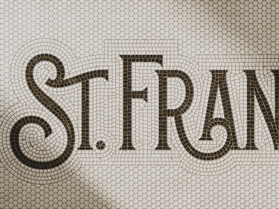 St. Francis Secondary Wordmark logo lettering gold emboss tile mosaic