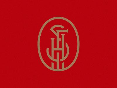 SFH Monogram red gold oval mark logo monoline