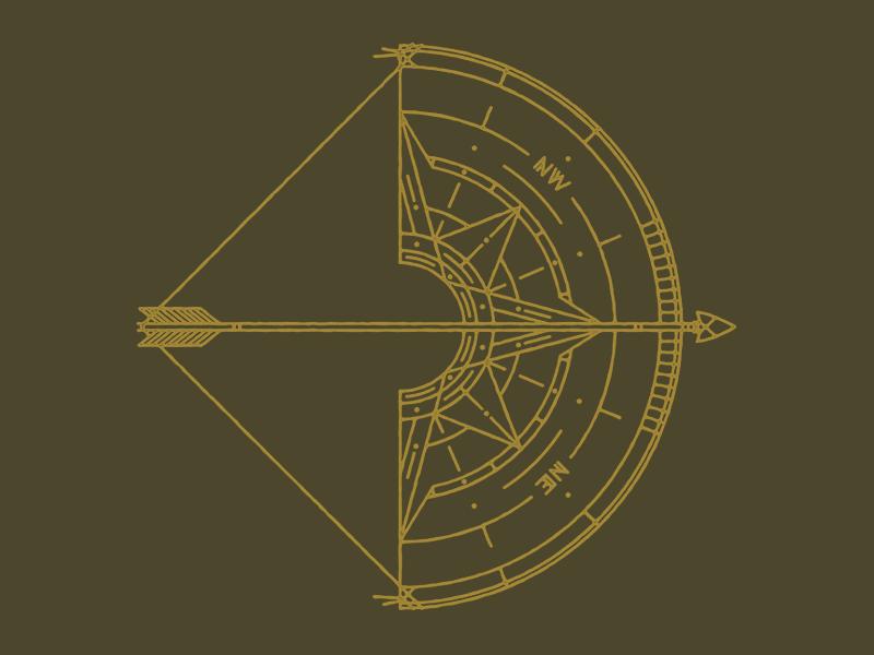 North compass arrow bow camp explore nature map summer camp logo t-shirt tanktop tattoo