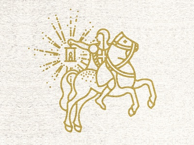 Horse and Lantern shirt cotton bureau horse knight lantern rider candle circles