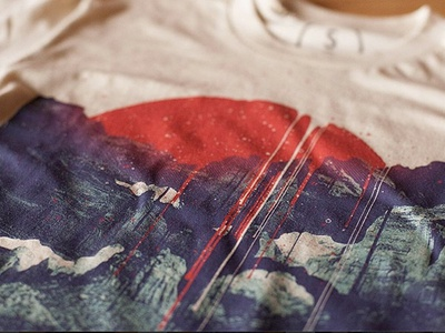 Sun Spills cotton bureau shirt sun mountains nature paint collage