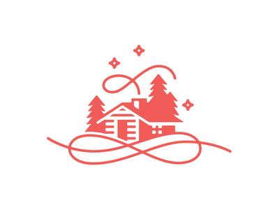Cabin etc triangle christmas winter night trees snow cabin