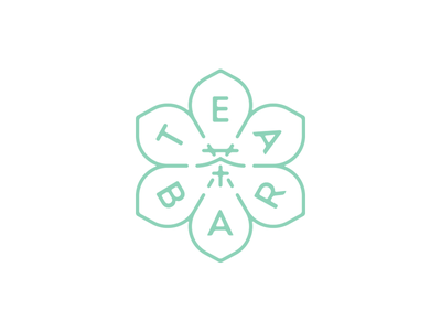 Tea Bar chinese mark logo symmetric tea flower