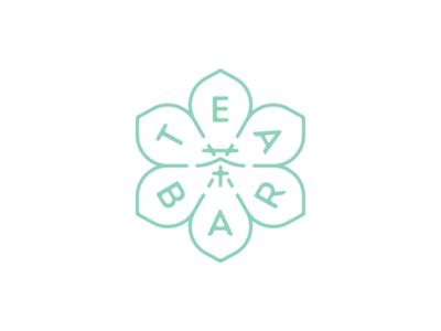 Tea Bar chinese mark logo symmetric tea flower