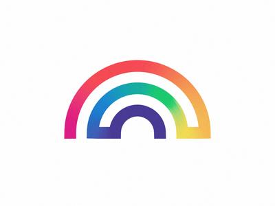 RNBW single line icon logo monoweight thick line rainbow