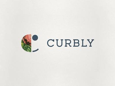Curbly custom typeface identity logo flower smiley face c