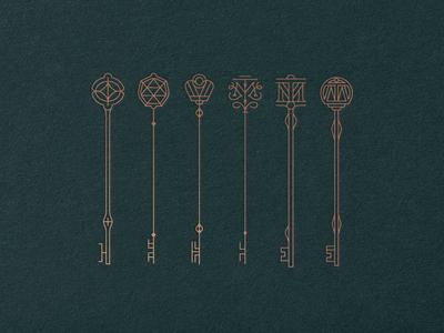 Tenth Muse etc circle logo crown monogram key