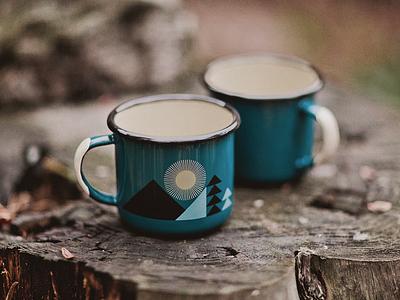 Disappointment Mountain Mug enamel mug geometric trees sun mountain