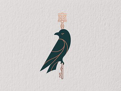 Tenth Muse raven monogram key bird