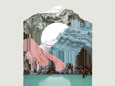 Mountain Malfunction mountains lake sun glitch collage
