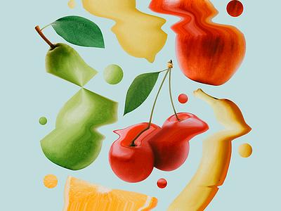 FFFFRUIT distort glitch fruit cherry orange pear lemon banana apple