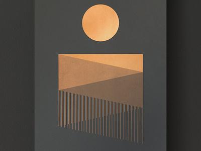 Night Falls studio mpls lines print waterfall landscape valley sun foil